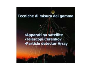 Apparati su satellite Telescopi Cerenkov Particle detector Array