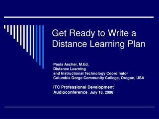 Get Ready to Write a Distance Learning Plan