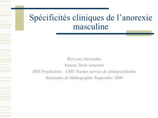 Spécificités cliniques de l'anorexie masculine