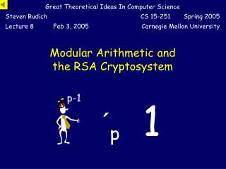 Modular Arithmetic and  the RSA Cryptosystem