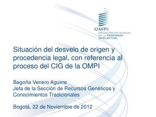 Situación del desvelo de origen y procedencia legal, con referencia al proceso del CIG de la OMPI