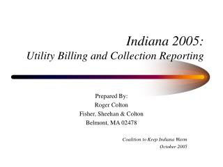 Indiana 2005: Utility Billing and Collection Reporting