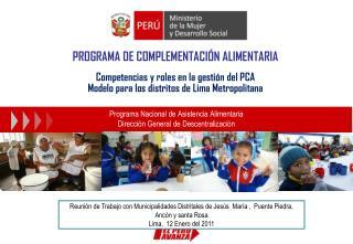 Programa Nacional de Asistencia Alimentaria Dirección General de Descentralización