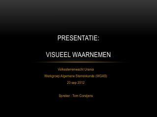 Presentatie: VISUEEL WAARNEMEN