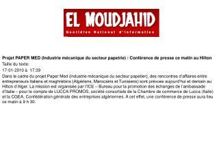 Partenariat: Les Italiens veulent placer leur papier  par Z. Mehdaoui