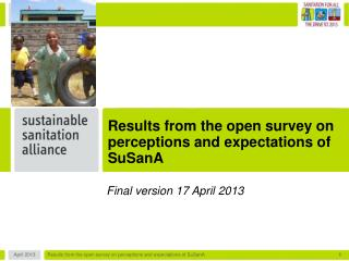 Results from the open survey on perceptions and expectations of SuSanA