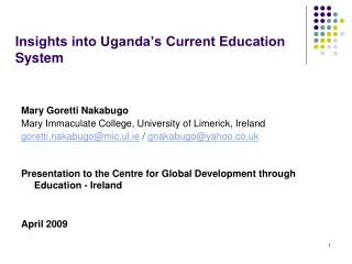 Insights into Uganda's Current Education System