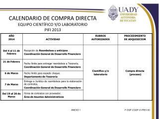CALENDARIO DE  COMPRA DIRECTA EQUIPO CIENTÍFICO Y/O LABORATORIO PIFI 2013