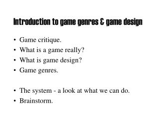 Introduction to game genres & game design