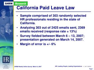 California Paid Leave Law