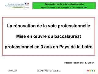 La rénovation de la voie professionnelle Mise en œuvre du baccalauréat