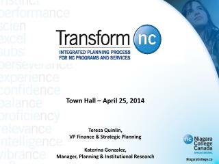 Town Hall – April 25, 2014 Teresa Quinlin,  VP Finance & Strategic Planning Katerina Gonzalez,