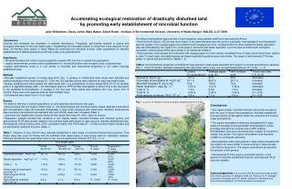 Accelerating ecological restoration of drastically disturbed land