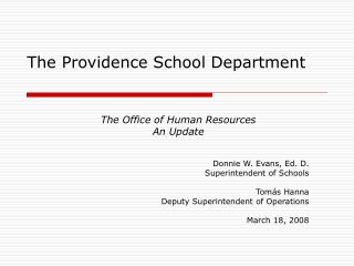 The Providence School Department