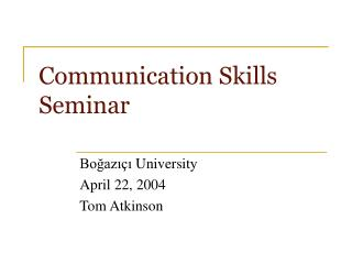 Communication Skills Seminar