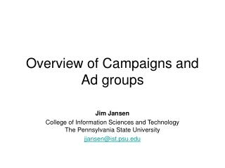 Overview of Campaigns and Ad groups