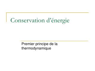 Conservation d��nergie