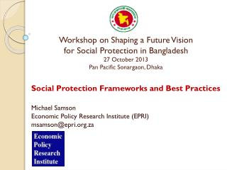 Social Protection Frameworks and Best Practices  Michael Samson