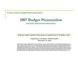 Century Farms Neighborhood Association