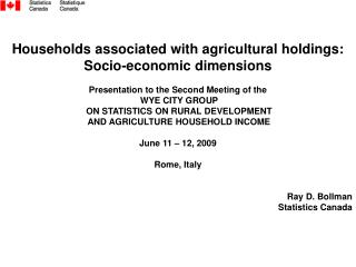 Households associated with agricultural holdings: Socio-economic dimensions