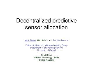 Decentralized predictive sensor allocation