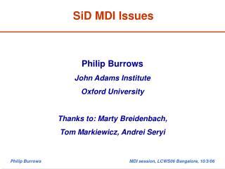 SiD MDI Issues