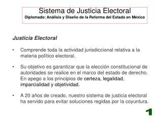 Sistema de Justicia Electoral Diplomado: Análisis y Diseño de la Reforma del Estado en México