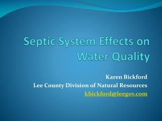 Septic System Effects on Water Quality
