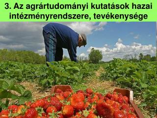 3. Az agrártudományi kutatások hazai intézményrendszere, tevékenysége