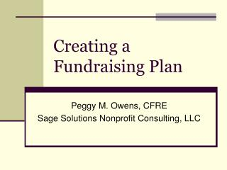 Creating a Fundraising Plan