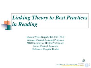 Linking Theory to Best Practices in Reading