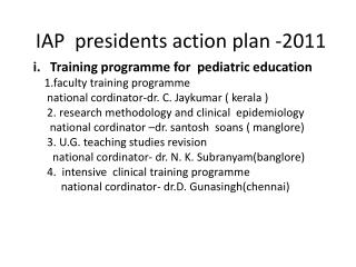 IAP  presidents action plan -2011