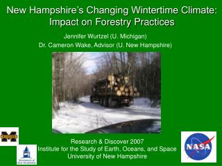 New Hampshire's Changing Wintertime Climate:  Impact on Forestry Practices