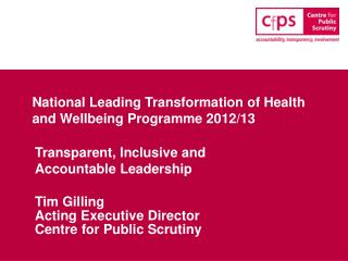 National Leading Transformation of Health and Wellbeing Programme 2012/13
