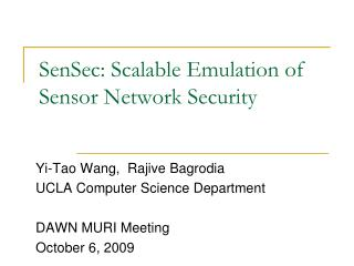 SenSec: Scalable Emulation of Sensor Network Security