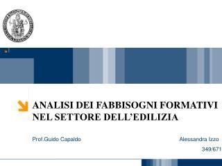 ANALISI DEI FABBISOGNI FORMATIVI  NEL SETTORE DELL'EDILIZIA Prof.Guido Capaldo Alessandra Izzo