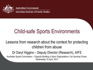 Child-safe Sports Environments