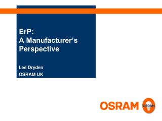 ErP:  A Manufacturer's Perspective