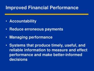 Improved Financial Performance
