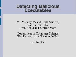 Detecting Malicious Executables