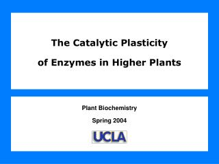 The Catalytic Plasticity  of Enzymes in Higher Plants