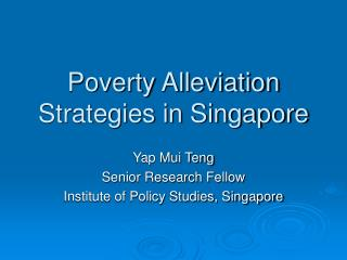 Poverty Alleviation Strategies in Singapore