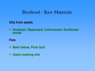 Biodiesel - Raw Materials