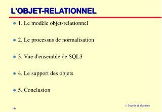 L'OBJET-RELATIONNEL