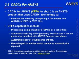 2.6  CADfix For ANSYS