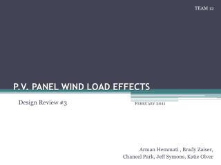 P.V. Panel wind load effects