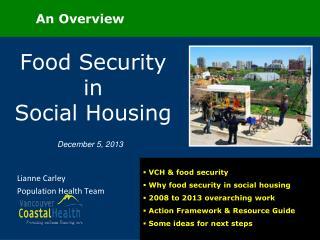 Food Security in          Social Housing