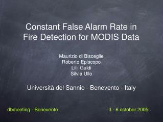 Constant False Alarm Rate in Fire Detection for MODIS Data