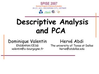 Descriptive Analysis and PCA