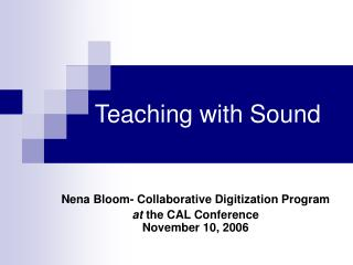 Teaching with Sound